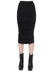 Rick Owens Stretch Draped Pencil Skirt Black