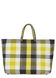 Truss Large Checked Woven Tote Yellow