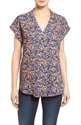 Pleione Petite Women's High Low V Neck Mixed Media Top Navy Caramel Contrast Flower