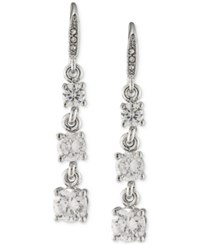Carolee Silver Tone Graduated Crystal Linear Drop Earrings