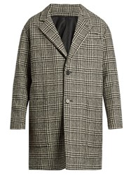 Ami Alexandre Mattiussi Oversized Wool Blend Hound's Tooth Overcoat Black Multi