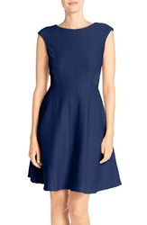 Women's Chetta B Textured Fit And Flare Dress Ink