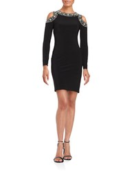 Betsy And Adam Cold Shoulder Beaded Dress Black Silver