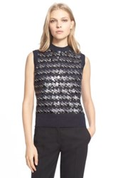 Marc Jacobs Sequin Embellished Jacquard Houndstooth Sleeveless Sweater Blue