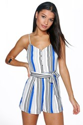 Boohoo Belted Striped Cami Playsuit Blue