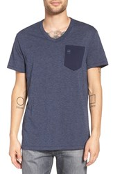 G Star Men's Raw 'Varos' Pocket V Neck T Shirt Sartho Blue