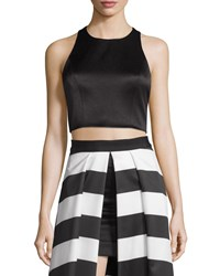 Alice Olivia Tru Sleeveless Structured Crop Top Black Size 8