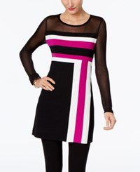 Inc International Concepts Illusion Colorblocked Tunic Only At Macy's Magenta Flame