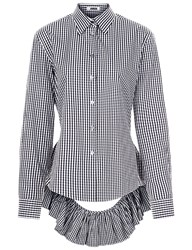 Jourden Black And White Gingham Open Back Shirt