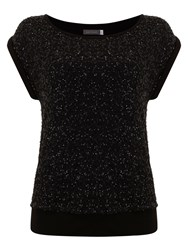 Mint Velvet Sequin Layered Top Black
