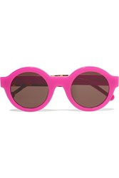 Preen Big Ben Neon Round Frame Acetate Sunglasses Purple