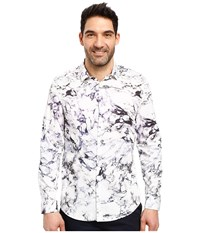 Calvin Klein Long Sleeve Marble Print Button Down Shirt Purple Traviata Men's Long Sleeve Button Up White