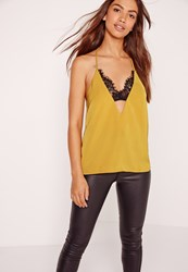 Missguided Insert Lace Strap Detail Cami Yellow Chartreuse