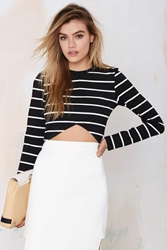 Nasty Gal The Fifth Paperback Striped Crop Top
