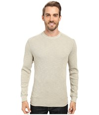 True Grit Softest Slub Waffle Thermal Long Sleeve Side Panel Crew With Contrast Stitch Pebble Men's Clothing Beige