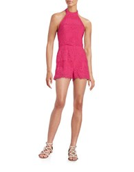 Guess Floral Lace Romper Pink