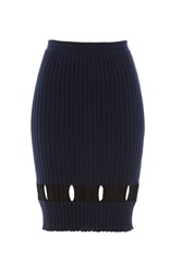 Alexander Wang Ribbed Wool Skirt With Cut Out Detail Blue