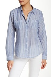 Sandra Ingrish Two Pocket Stripe Button Down Shirt Blue