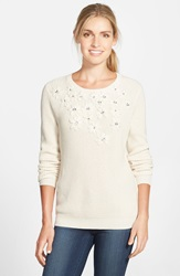 Vince Camuto Embellished Cotton Crewneck Sweater Antique White