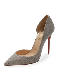 Christian Louboutin Iriza Glitter 100Mm Red Sole Pump Silver Gold