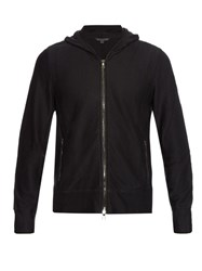 John Varvatos Leather Trim Cotton Knit Hooded Cardigan