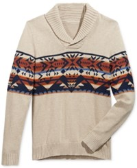 American Rag Men's Snowflake Geo Shawl Collar Sweater Only At Macy's Maple Heather
