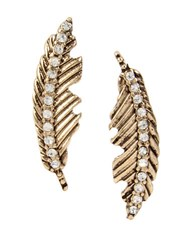 Betsey Johnson Crystal Feather Drop Earrings Gold
