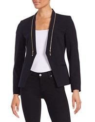 Ivanka Trump Zipper Accented Blazer Navy