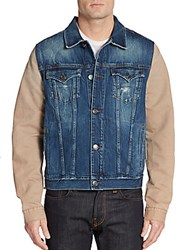 True Religion Jimmy Western Denim Jacket Blue Tan