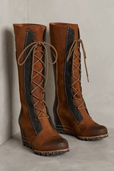 Anthropologie Sorel Cate The Great Wedge Boots Chocolate