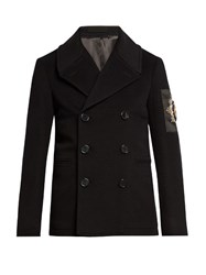 Alexander Mcqueen Embellished Wool And Cashmere Blend Pea Coat Black