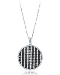 Diana M. Jewels 18K Black And White Diamond Circle Pendant Necklace 2.31Tcw