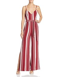Lovers Friends And Charisma Stripe Jumpsuit Cranberry Stripe