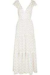 Temperley London Peggy Metallic Fil Coupe Gown White