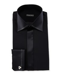 Stefano Ricci Crystal Trim Silk French Cuff Tuxedo Shirt Women's