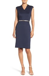 Ellen Tracy Women's Belted Ponte Sheath Dress Ink