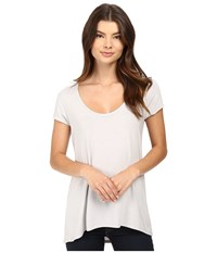Heather Scoop Neck Tee Silver Women's Short Sleeve Pullover