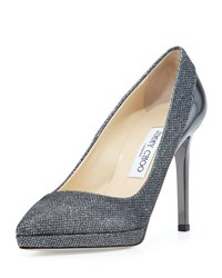 Jimmy Choo Rudy Glitter Fabric Platform Pump Gray Grey