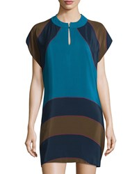 See By Chloe Colorblock Cap Sleeve Shift Dress Blue Multi