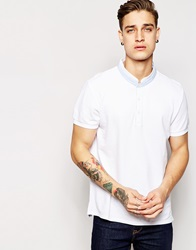 Esprit Polo Shirt With Grandad Collar White