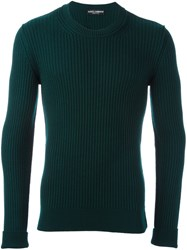 Dolce And Gabbana Ribbed Jumper Green