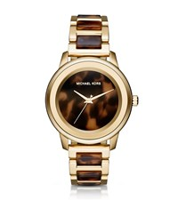 Michael Kors Oversize Kinley Gold Tone And Tortoise Acetate Watch