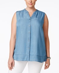 Styleandco. Style And Co. Plus Size Sleeveless Button Down Blouse Only At Macy's Sun Wash