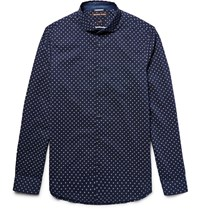 Michael Kors Slim Fit Printed Cotton Poplin Shirt Blue