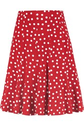 Dolce And Gabbana Polka Dot Crepe Mini Skirt Red