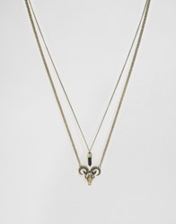 Asos Necklace Pack With Ram Head Pendant Gold