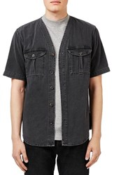 Topman Men's Washed Black Denim Baseball Shirt