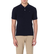 Comme Des Garcons Fitted Cotton Polo Shirt Navy