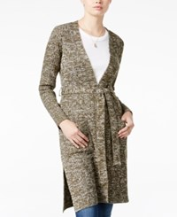 Almost Famous Juniors' Duster Cardigan With Belt Olive Oatmeal