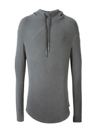Lost And Found Ria Dunn Curved Hem Hoodie Grey